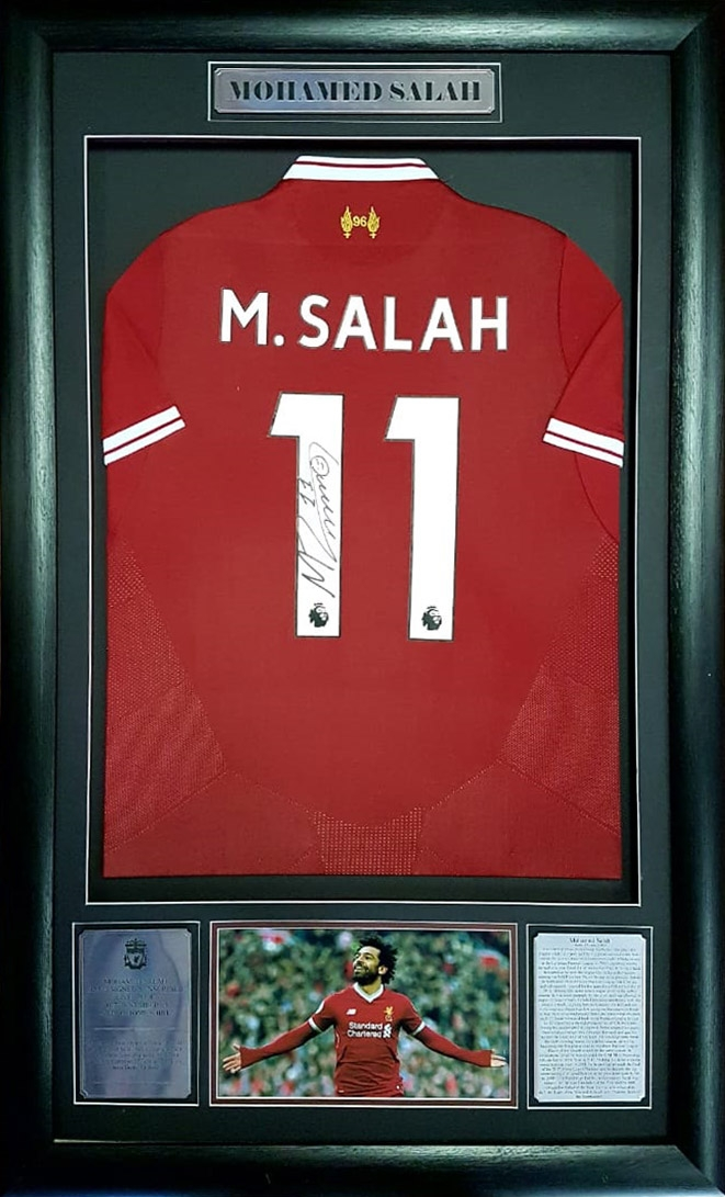 quality design 48242 cbee3 Mohamed Salah: Signed Framed Liverpool Jersey