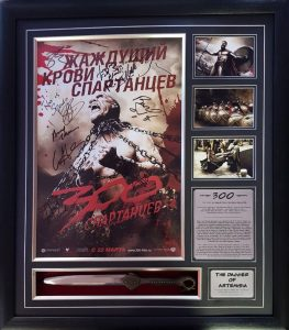 300 Cast Signed Poster with dagger (incl Photo proof)
