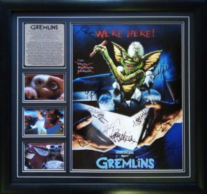 Gremlins: cast signed poster with photo proof