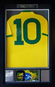 Pele : Rare Signed and Inscribed Brazil No 10 Shirt