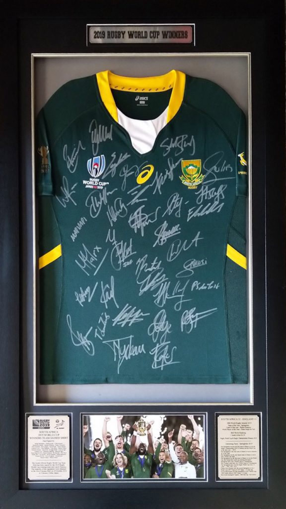 South Africa 2019 Rugby World Cup Winners Signed and Framed Team Shirt