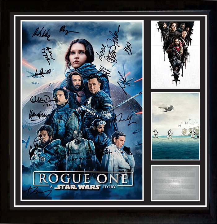 Star Wars Rogue One Cast Signed and Framed Poster