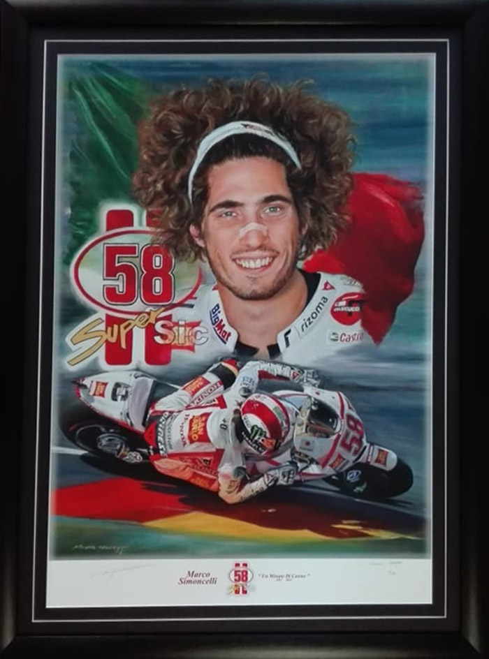 Marco Simoncelli Ltd only 58 worldwide Large Uv Varnished print signed by Legend artist Mike Rogers