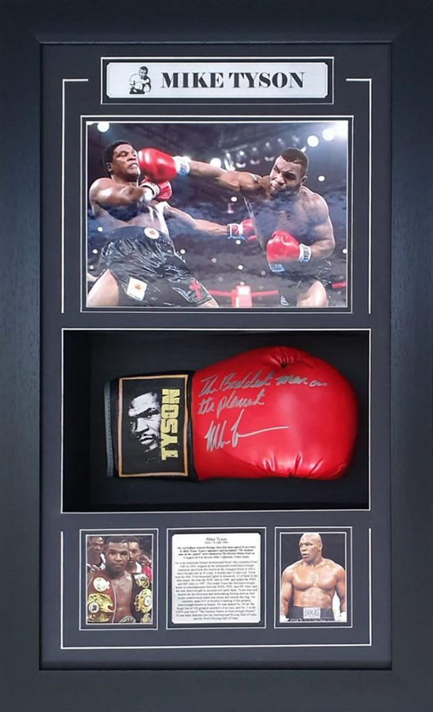 "Mike Tyson Signed with inscription ""The Baddest Man On The Planet"" Framed Everlast Boxing Glove"