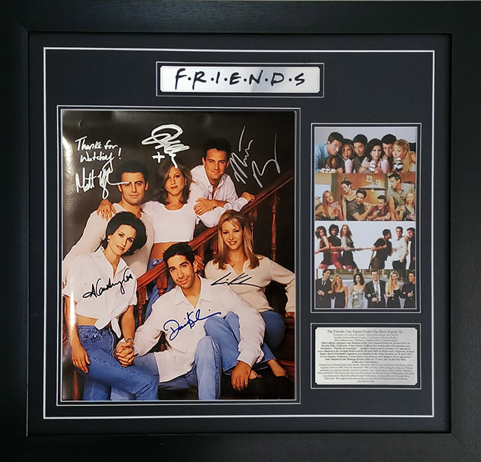 Friends Cast Signed with Inscription and Framed Poster