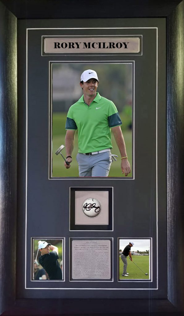 Rory Mcilroy Signed and Framed Golf Ball