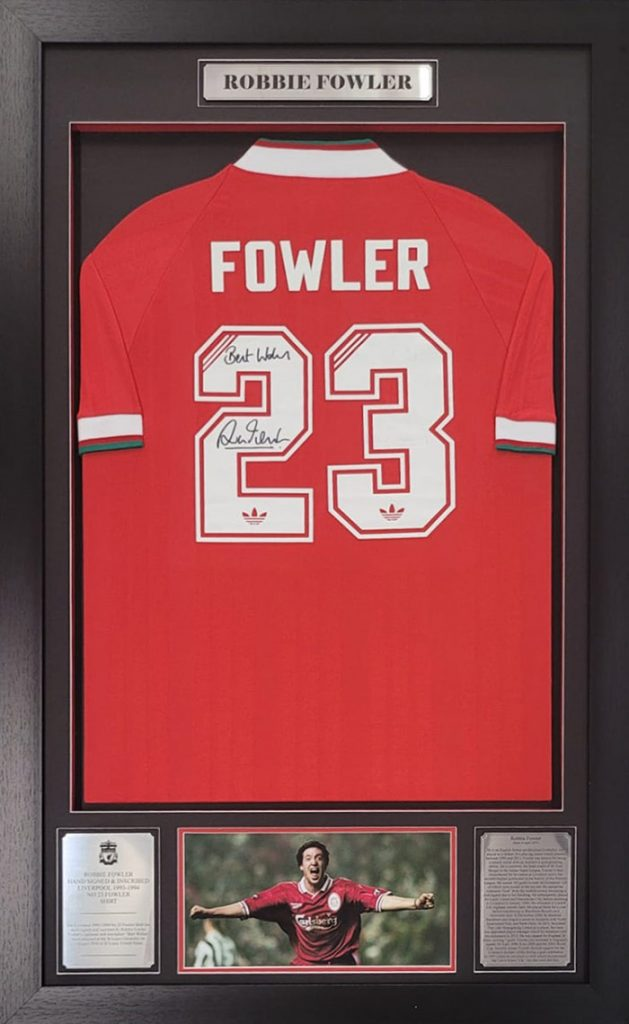 Robbie Fowler Hand Signed and inscribed Framed Liverpool 1993-1994 Jersey
