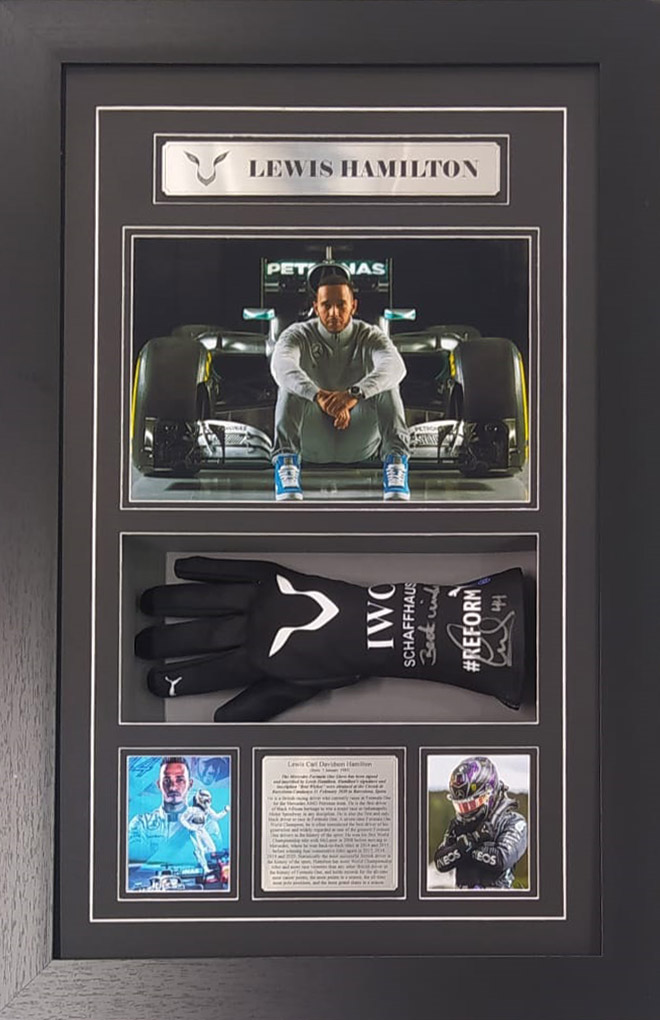 Lewis Hamilton Signed and inscribed IWC Formula One Glove